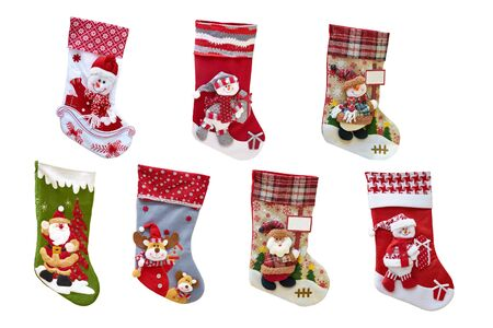 Christmas decorative stocking for gifts. New Years socks and toys. Isolated, white background.