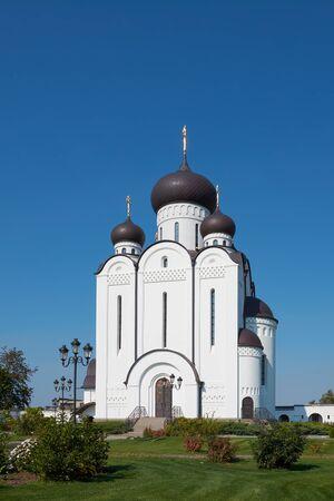White stone religious building of Christian Orthodox church. Temple of All Saints, Uman, Cherkaska oblast, Ukraine. Stok Fotoğraf