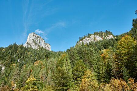 Scenic spot Bicaz Gorge in Carpathian Mountains, Romania. Sunny autumn morning. Stok Fotoğraf
