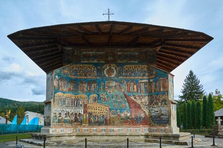 Voronet Monastery, founded in the 15th century, located in Voronet, Romania. Stone religious building of Christian Orthodox church built with painted walls.