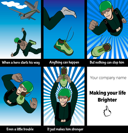 Vector  illustration of a parachutist in cartoon style. Comic book about skydiver who loses his shoe and recovers during skydive. Marketing idea, concept, slogan for sport center or equipment.