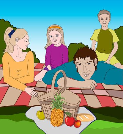 Vector illustration of a happy family having fun outdoors. Background with spring landscape, fresh grass and blue sky. Family vacation. Picnic basket with fruits and bread. Illustration