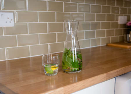 fresh water with lemon and mint in decanter and glass on the table in kitchen Reklamní fotografie
