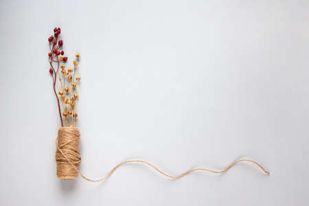 Creative composition with natural jute twine roll, linen or cannabis, on light background with copyspace for text or your presentation. Handmade and ecological packaging concept, sustainable lifestyle