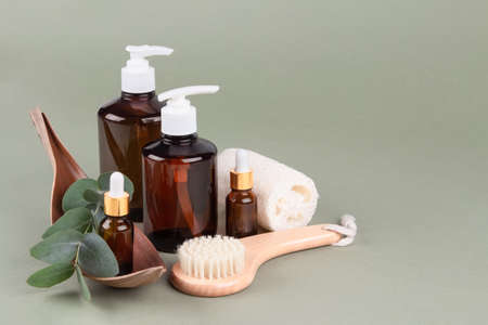 Set of natural bathroom amenities - glass dropper bottles with natural organic cosmetics, natural face or body dry brush, eucalyptus oil, cream, lotion, essential oils on green background, mockup Standard-Bild