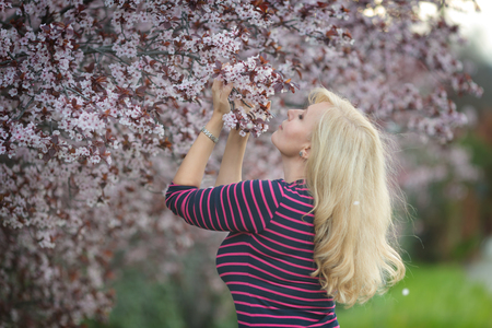 Happy smiling Caucasian blond woman with long hair smiles and happy near blossoming plum cherry tree, enjoys the blossom. Looking left Stock Photo