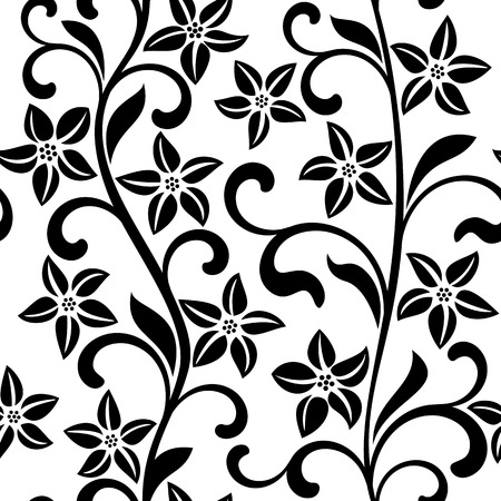 Seamless pattern with black flowers on a white background Illustration