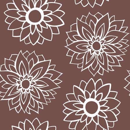 garden stuff: Pattern white flowers on brown background Illustration