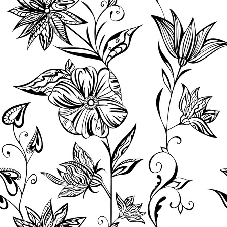 garden stuff: Seamless vector pattern: fantastic flowers on a white background