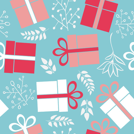 christmas wallpaper: Vector seamless gift pattern on a blue background