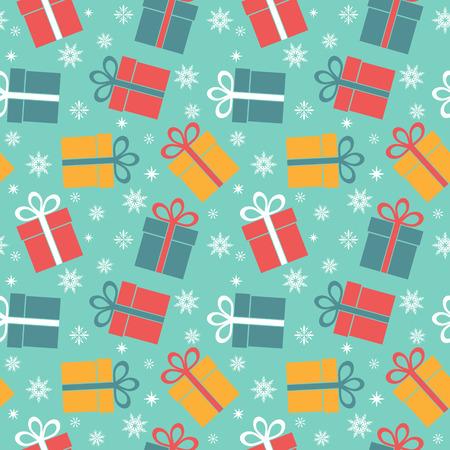 wraps: Modelo inconsútil del vector con los regalos en un fondo azul