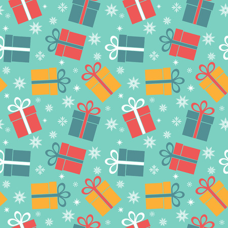 surprise gift: Seamless vector pattern with gifts on a blue background Illustration