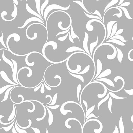 palatial: Seamless pattern with white flowers on a gray background