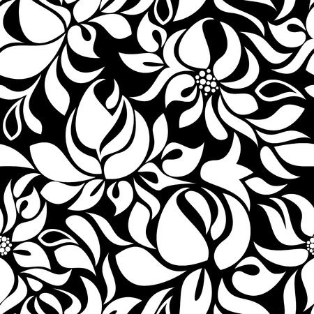 garden stuff: Seamless pattern with white flowers on black background