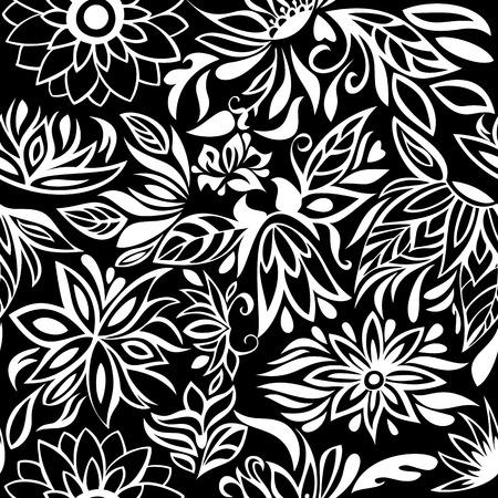 garden stuff: Pattern white flowers on black