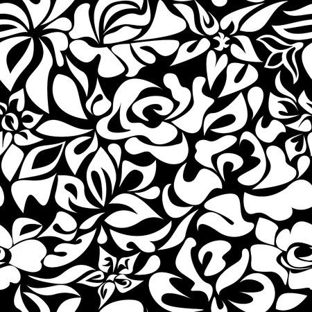 garden stuff: Pattern white flowers on a black background