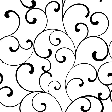 Seamless pattern with black swirls on a white background