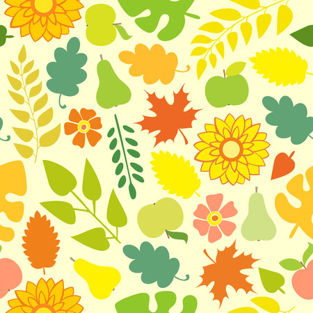verdant: Autumn Seamless pattern on a yellow background