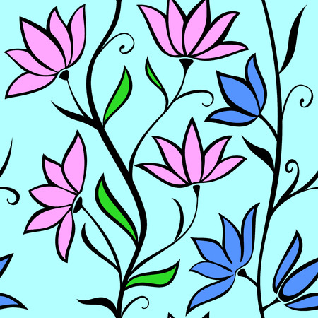 garden stuff: Seamless pattern with flowers on a blue background