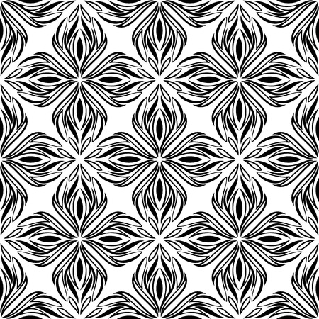 garden stuff: Seamless pattern with black tracery on a white background Illustration
