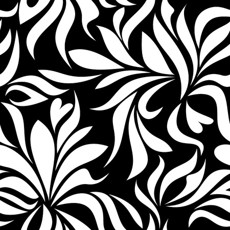 garden stuff: Seamless pattern with white abstract flowers on a black background Illustration