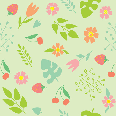 garden stuff: seamless pattern with spring flowers on a green background