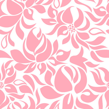 Seamless pattern with abstract pink flowers on a white background
