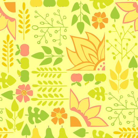 greengrocery: Autumn Seamless pattern on a yellow background