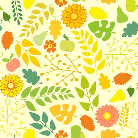 greengrocery: Seamless autumn pattern on a yellow background