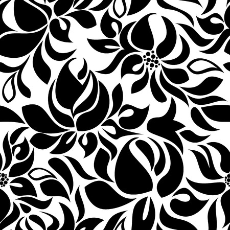 garden stuff: Seamless pattern with black flowers on a white background Illustration
