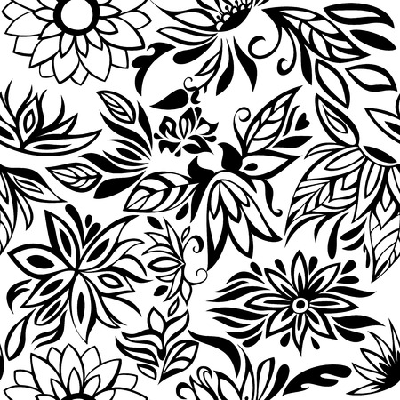 garden stuff: Seamless Pattern with Black flowers on a white background