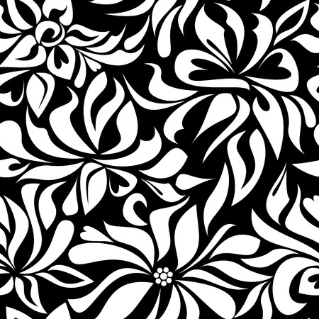 Seamless pattern with white flowers on black background
