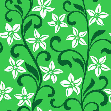 garden stuff: Seamless pattern with white flowers on a green background
