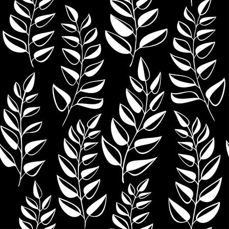 garden stuff: Seamless pattern with white leaves on black background