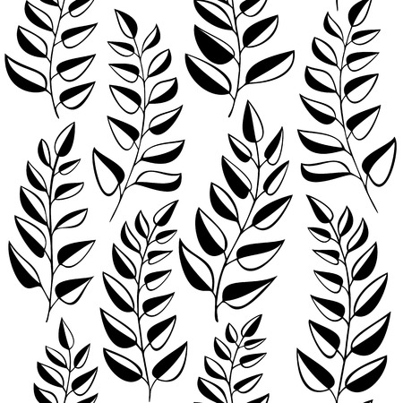 garden stuff: Seamless pattern with fern - black and white