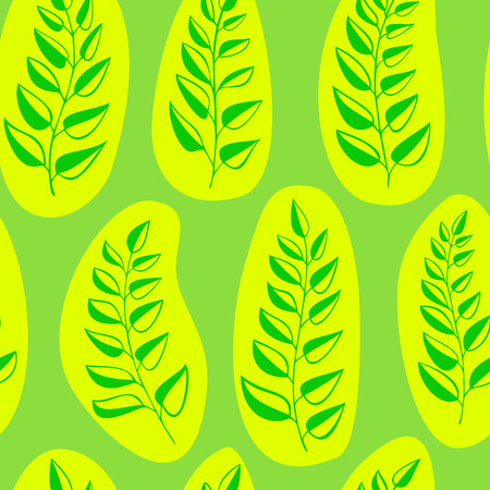 garden stuff: art, background, curve, decor, decoration, decorative, design, fern, flourishes, foliage, fresh, garden stuff, green, leaf, nature, ornament, ornate, oval, packaging paper, pattern, plants, repetition, seamless, season, shape, spring, style, summer, vecto Illustration