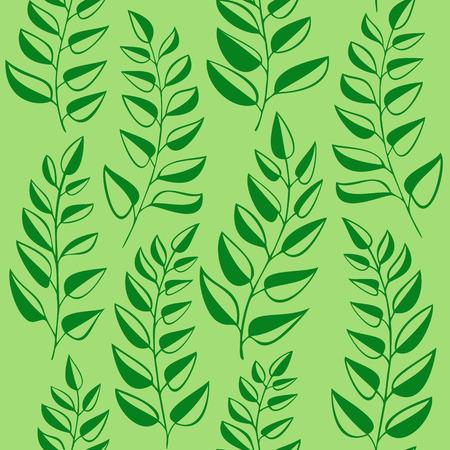 garden stuff: Seamless pattern with fern on green background