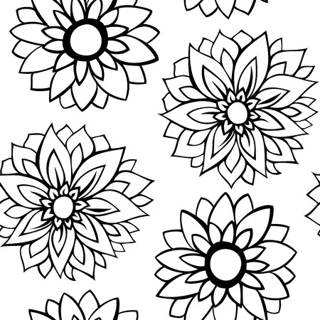 garden stuff: Seamless pattern with black flowers on white background Illustration