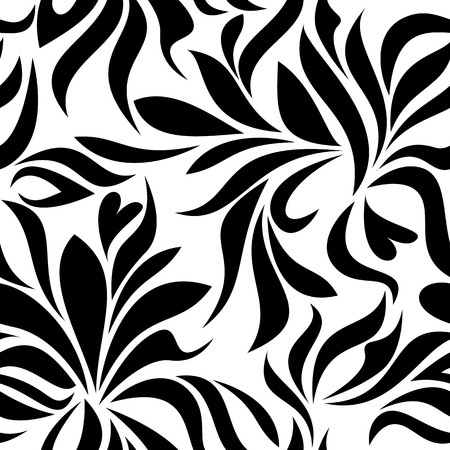 garden stuff: Seamless pattern with black abstract flowers on a white background