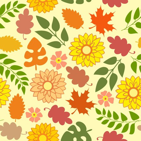 drapery: Seamless autumn pattern with flowers and foliage on a yellow background Illustration