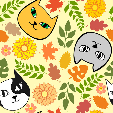 garden stuff: Seamless autumn pattern with cats and flowers