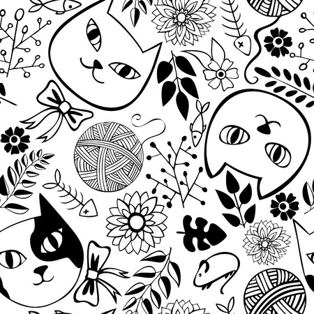 garden stuff: Seamless pattern with cats and flowers on a white background