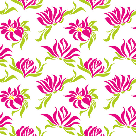 garden stuff: Seamless pattern with pink flowers on a white background