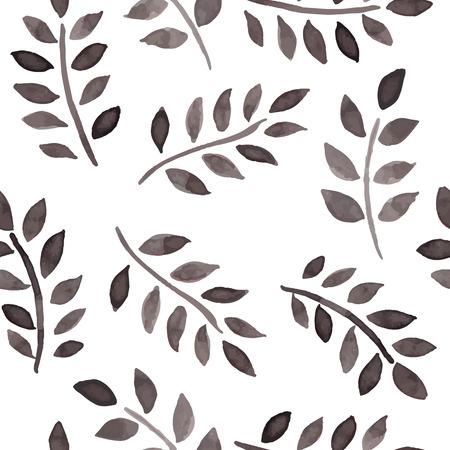 rosa negra: Modelo inconsútil con las hojas de tinta sobre un fondo blanco