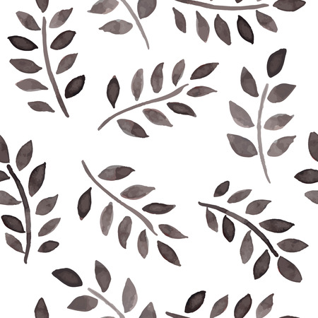 black and white line drawing: Seamless pattern with ink foliage on a white background