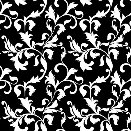 rich black wallpaper: Elegant seamless pattern with decoration flowers on a black background. Vintage style