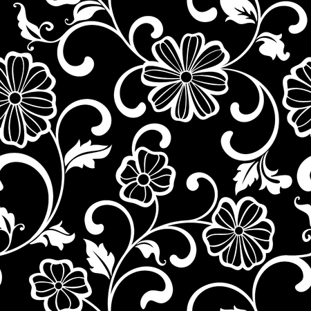 textile background: Graphic Seamless pattern with flowers on a black background Illustration
