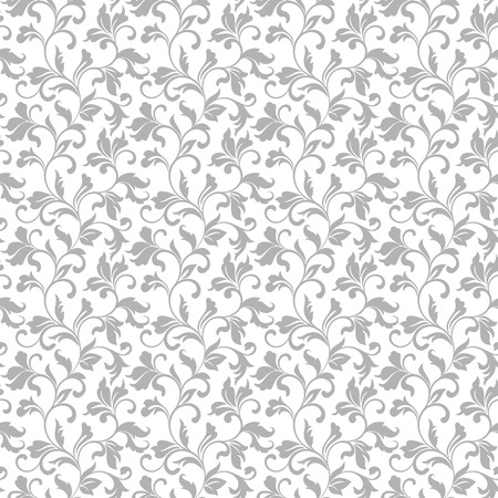 Elegant seamless pattern with floral tracery on a white background for decorations of wallpaper, textile. Vintage style.