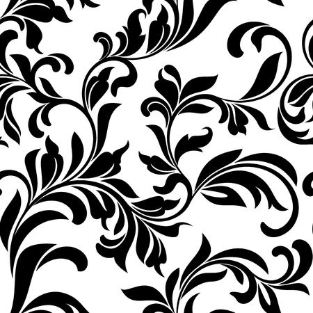 tracery: Seamless pattern with white floral tracery on a white background
