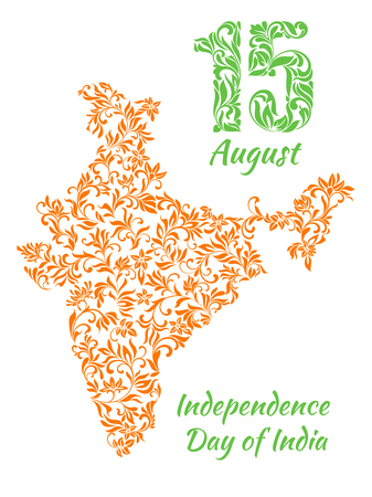 15 august: The poster for August 15, Indias Independence Day with a map from a floral ornament. Elegant decorative fonts Illustration